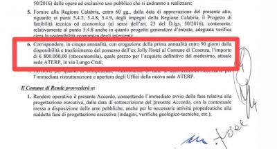 Il punto 6 dell'accordo tra Regione e Comune e l'impegno di acquisto di Palazzo dei Bruzi