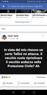 Uno dei post pubblicato su facebook da Tansi oggetto di polemica
